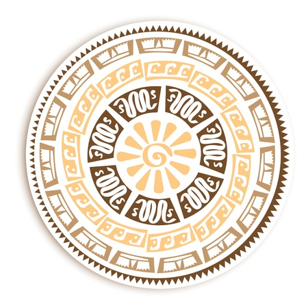 Abstract Vintage Petroglyph Round Emblem Over White Vector
