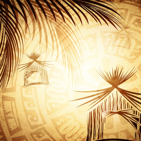 Vintage Tropic Background With Abstract Bungalow and Palms Vector