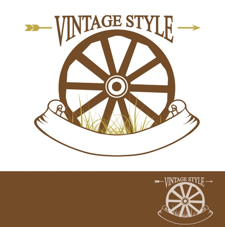 times new roman: Vintage Rural Design With Old Wheel (Used Times New Roman font) With Copyspace For Your Text