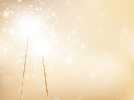 sparkler: Holiday Sparklers Golden Background, Copyspace For Your Greetings