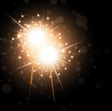 Holiday Bright Sparklers Over Dark Night Background