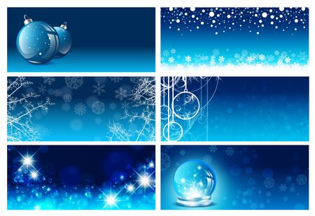 christmas banner: Christmas and New Year Greeting Card Template Set in Blue, Copyspace For Your Text