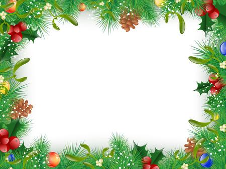 muerdago: Navidad y Año Nuevo Abeto Marco Decorativo Árbol, Copyspace Vectores