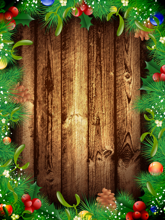 new year border: Christmas and New Year Fir Tree Decorative Frame at Wooden Background, Copyspace Illustration