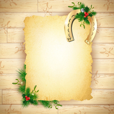 horseshoe vintage: New Year and Christmas Lucky Golden Horseshoe Vintage Paper at Wooden Background, Copyspace