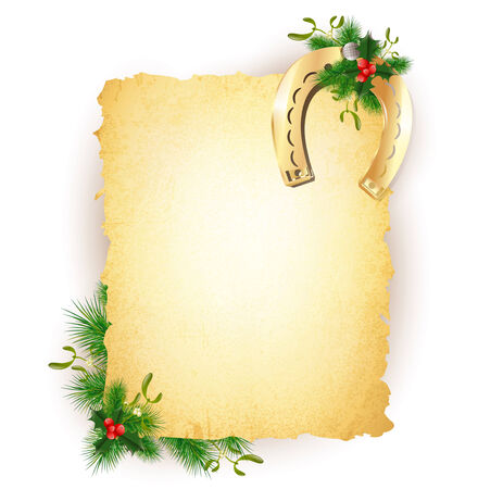 horseshoe vintage: New Year and Christmas Lucky Golden Horseshoe Vintage Paper Over White Background, Copyspace