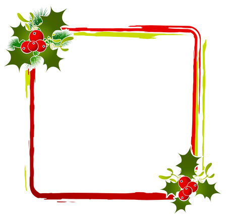 Christmas Decorative Frame at White Background With Copyspace