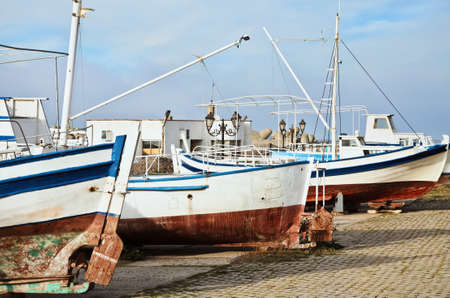 fishingboat: Boats On The Shore In The Fishing Port