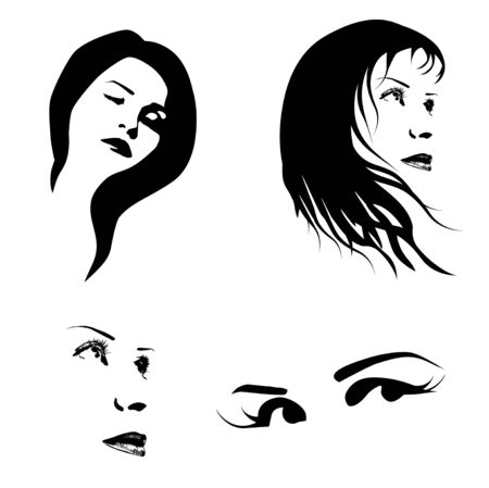 Abstract Women Face Silhouettes Set In Black and White