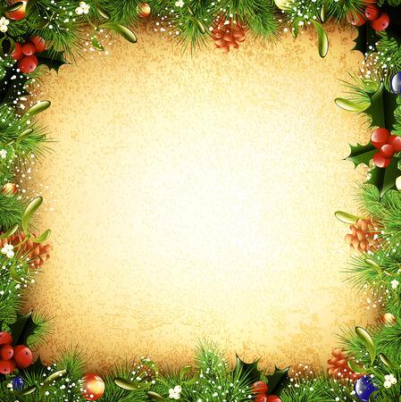 pomme de pin: Noël et Nouvel An Sapin cadre de cru décoratif, Atelier Illustration