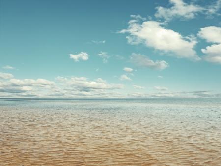 breeze: sea horizon, blue cloudy sky