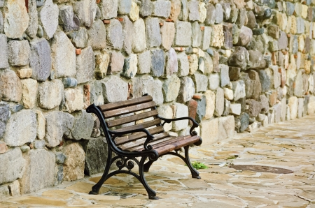 fortify: Bench Near The Stone Fortress Wall in Sozopol  Bulgaria