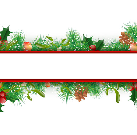 Christmas and New Year Fir Tree Decorative Border, Copyspace Illustration