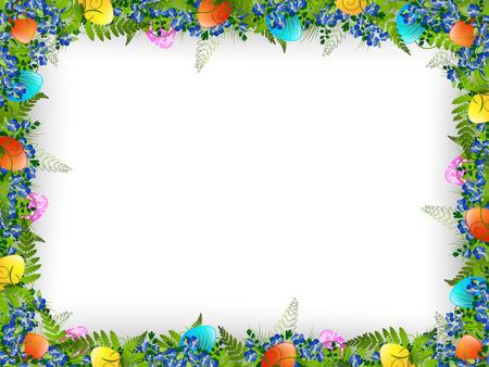 Pasen Decoratief Frame met gekleurde eieren, bloemen en gras