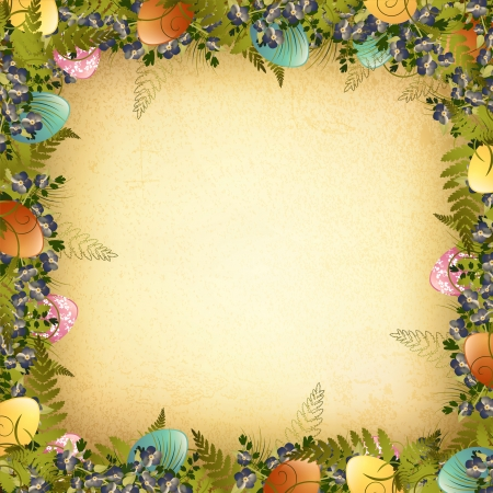 Vintage Pasen Decoratief Frame met gekleurde eieren, bloemen en gras