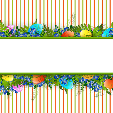 Easter Decorative Frame With Colored Eggs, Flowers and Grass Vector