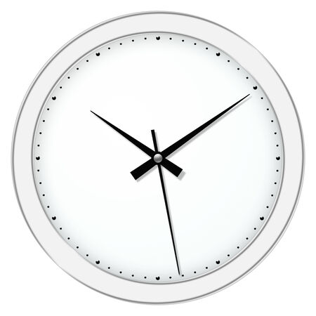 clockwise: Classic wall clock over the white background