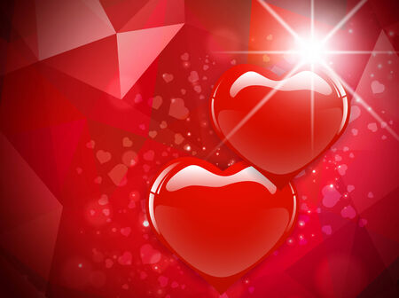 star light: Two Red Heart Background With Star Light Illustration