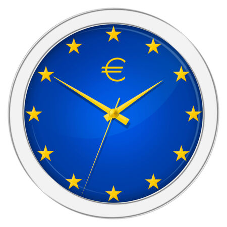 timepiece: Euro wall clock over the white background Stock Photo