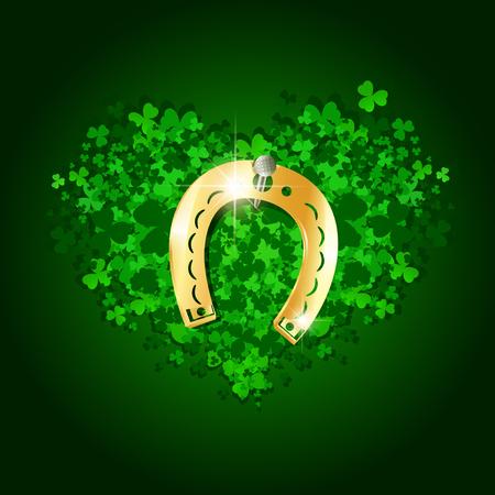 golden horseshoe: Saint Patrick Day Abstract Heart With Lucky Golden Horseshoe Illustration
