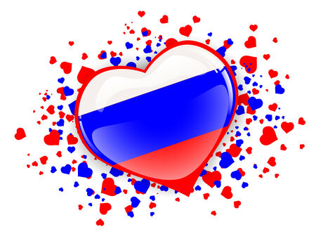 russian federation: Russian Federation Heart in White Blue Red Over White Background