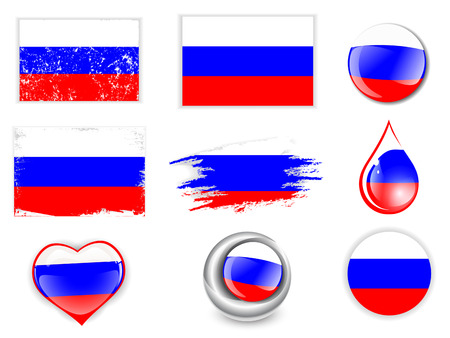russian federation: Collection of Russian Federation Flag Symbols Over White Background Illustration