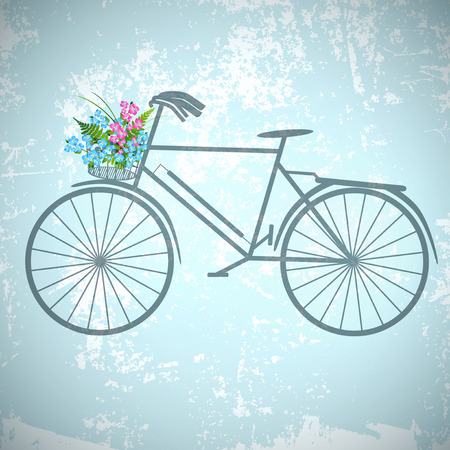 forget me not: Single Retro Bicycle With Flowers Over Vintage Grunge Background  Illustration