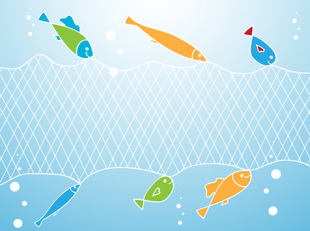 fishing net: Abstract Summer Background: Fish and Fishing Net Illustration