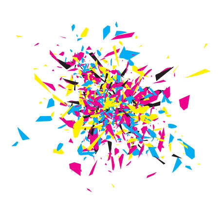 cmyk abstract: CMYK Abstract Explosion Design Over White