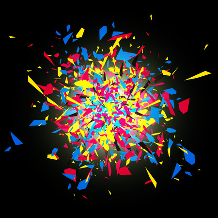 cmyk abstract: CMYK Abstract Bright Explosion Design Over Dark Background