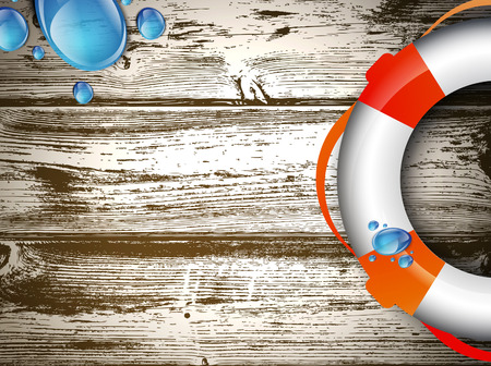 Illustration of Life Buoy at Wooden Background, Copyspace Vector