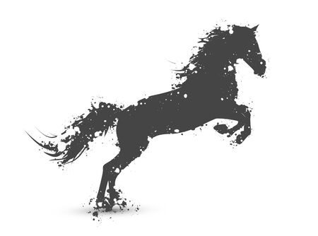 black horse: Ilustración de abstracta de tinta salpicaduras caballo en movimiento sobre fondo blanco