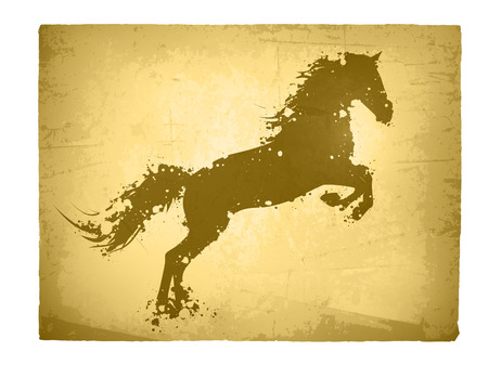 horses in the wild: Illustration of Abstract Ink Splashes Horse At Vintage Grunge Paper Background Illustration