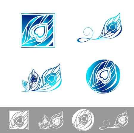 pluma de pavo real: Ilustración de la pluma del pavo real Logo Design Collection Vectores