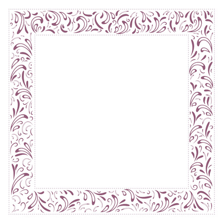 copyspace: Abstract Floral Border With Copyspace Over White Background