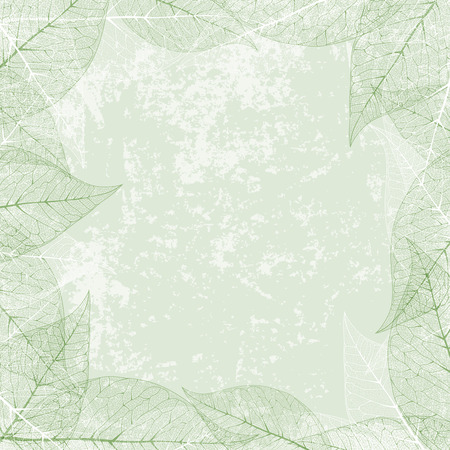copyspace: Abstract Leaf Border With Copyspace Over Vintage Grunge Background