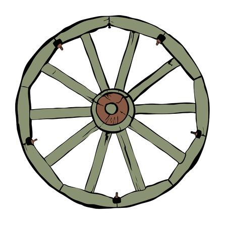 cartwheel: Illustration of Vintage Wooden Wheel Over White Background Illustration