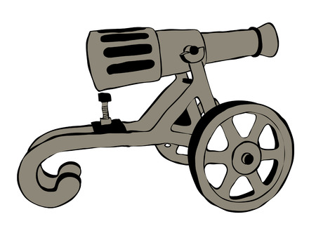 iron defense: Illustration of Old Cannon Over The White Background
