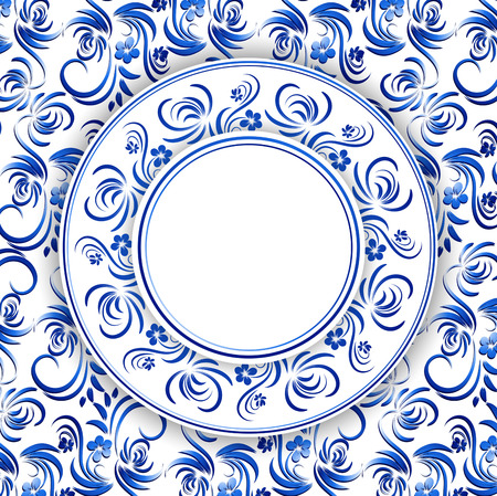 gzhel: Abstract Russian Gzhel Round Frame in Blue, Copyspace