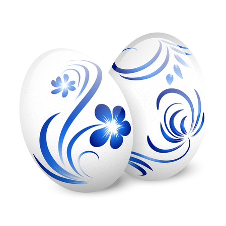 gzhel: Illustration of Easter White Gzhel Decorated Eggs Over White