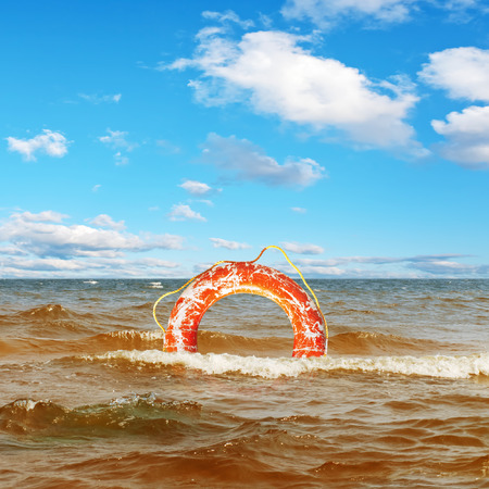 life preserver: Lifebuoy Ring In The Sea Under Blue Sky