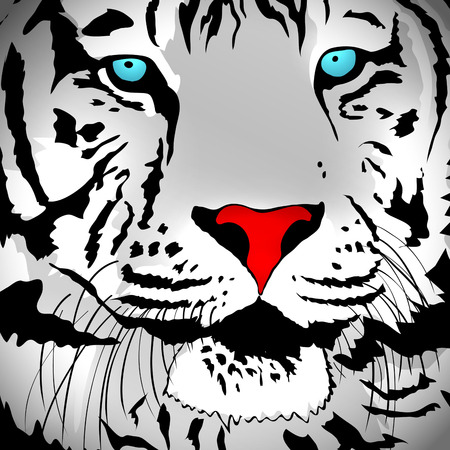 abstract portrait: Illustration of Abstract White Tiger Portrait Background