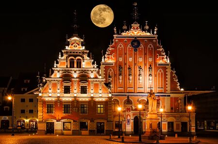 mannerism: Restored Blackheads House In The Old Riga. Latvia. Stock Photo