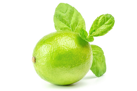 viands: Native Lime Over The White Background Stock Photo