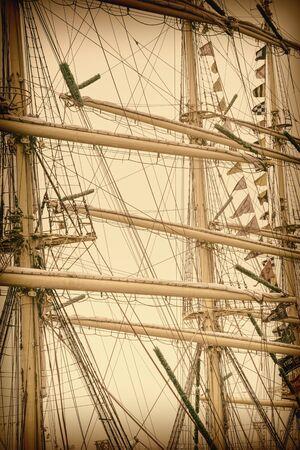 masts: Masts Of Sailboats. Retro Stylized Image