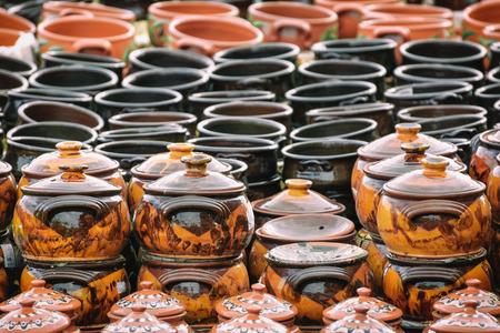 A Lot of Earthenware Crockery on the Pottery Market
