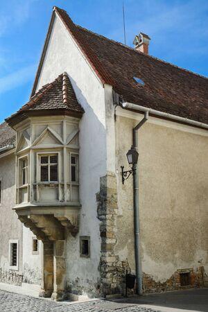 corner of house: Corner House in the Old City of Szekesfehervar Hungary Stock Photo