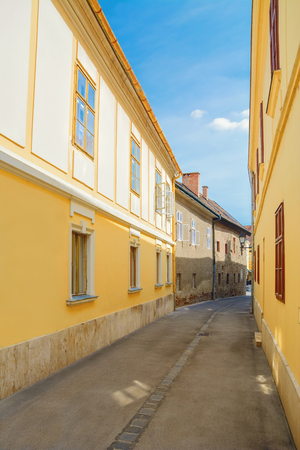 old city: Narrow Street of old City of Szekesfehervar, Hungary Stock Photo