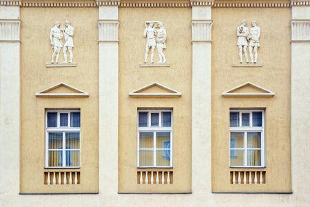 window frame: Facade of One of the Buildings in Szekesfehervar, Hungary