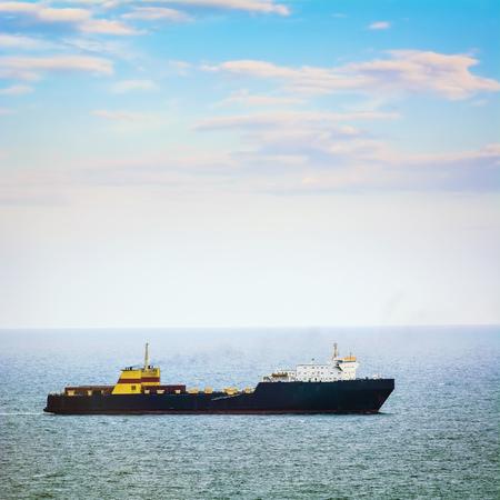 wheelhouse: Ro-Ro Cargo Ship in the Open Sea